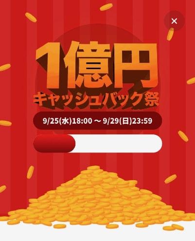 1億円キャッシュバック祭の利用額