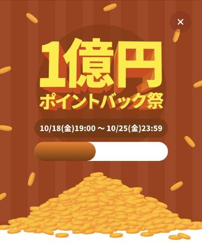1億円ポイントバック祭の5日目の進捗状況