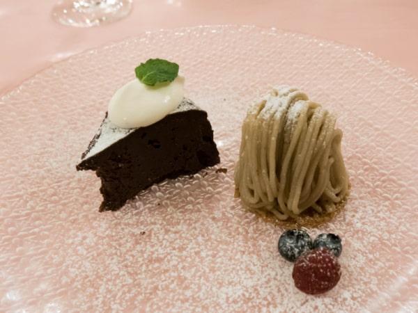 デザート(ガトーショコラとモンブラン)
