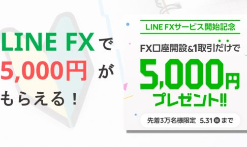 LINE FXで口座解説&取引完了すると5000円がもらえるキャンペーンを開催中