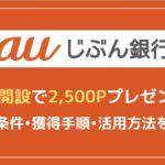 auじぶん銀行の口座開設で2,500P獲得する方法と手順